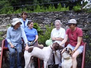 Garden workday volunteers--L to R Wendy White, Martha Lombardo, Linda Pitt, Paula Burns, Karen Hinckley with Rocket and Lizzie