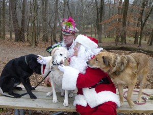 Santa and his helper the  Mummer find out  whether these dogs have been naughty or nice